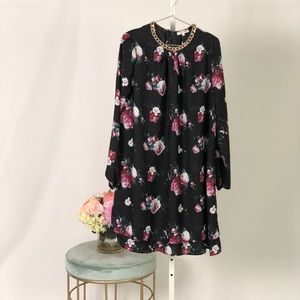 Floral shift dress with gold accent